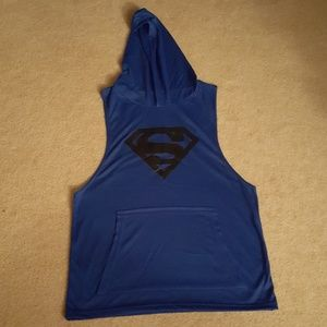 Other - Mens Blue Superman Hooded Tank Top Medium NWOT